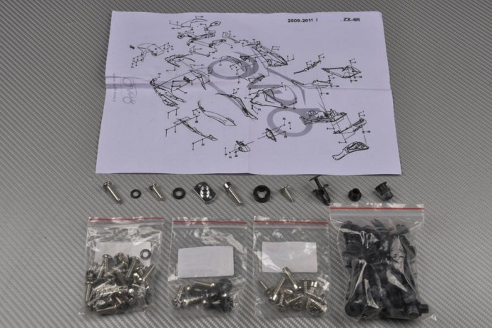 Complete Fairings Fastening Hardware Set KAWASAKI ZX6R 2009 - 2012