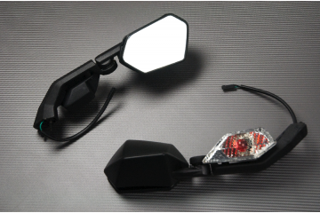 Pair of Aftermarket Rearview Mirrors with Integrated Turn Signals for KAWASAKI ZX10R 2008 - 2010