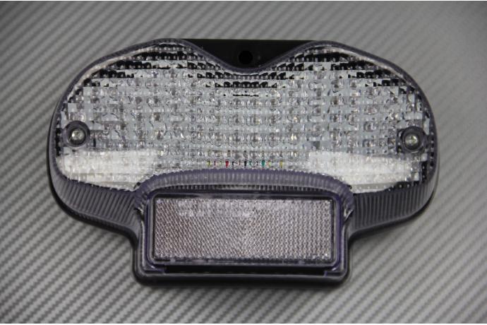 Luces de freno LED con intermitentes integrados para Suzuki GSF Bandit 600 1200 2000//2005 Claro