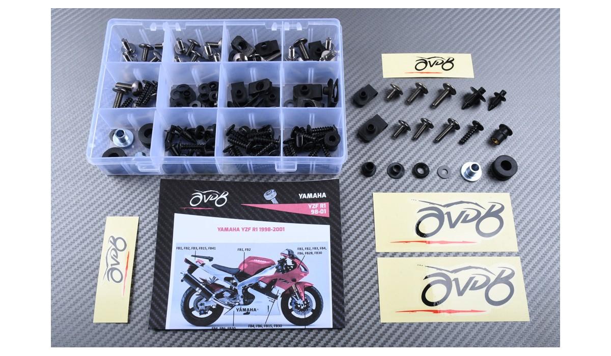 pour YZF 1000 R1 98 99 YZF1000 R1 1998 1999 Agrafes de fixation pour vis alu Bleu Argent LoveMoto Jeux de visserie complets pour car/énages moto