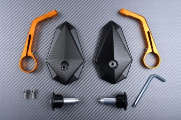 Pair of Bar End Rearview Mirrors in Anodised Aluminum