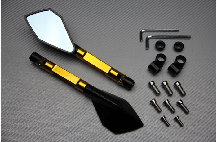 Paar Rückspiegel aus eloxiertem Aluminium