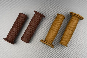 Coppia di manopole in gomma marrone - Design Café Racer
