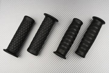 Pareja de puños en caucho negro - estilo Café Racer