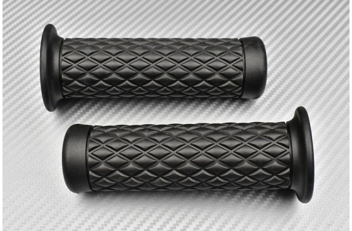 Pair of Black rubber grips - Cafe Racer Design