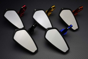 Pair of Bar End Rearview Mirrors with Small Adjustable Arms