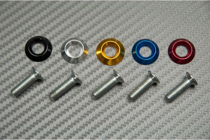 Decorative screw with colored washer