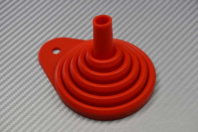 Foldable rubber funnel in various colors