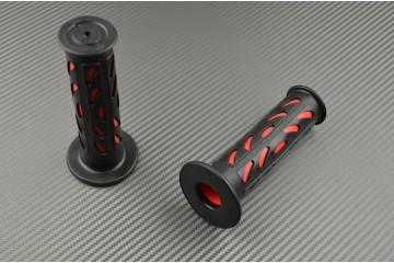 Coppia di manopole in gomma nero / rosso 22 / 24mm