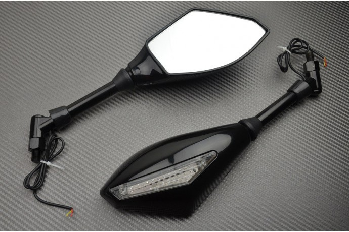 "Pair of ""Universal"" Rearview Mirrors with Integrated Turn Signals for Naked Motorcycles"